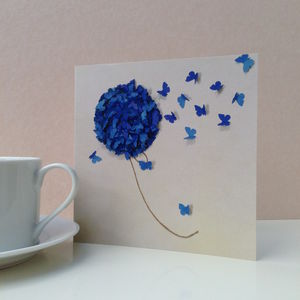 Blue Hydrangea Butterfly Blank Card - birthday cards