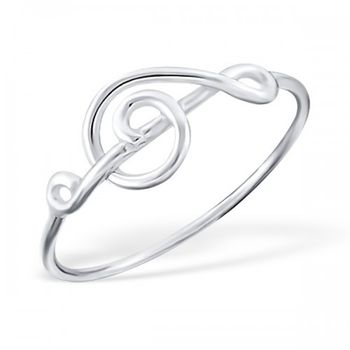 Sterling Silver Treble Clef Musical Note Ring