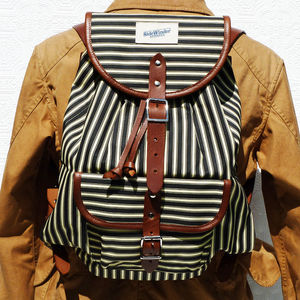 Striped Canvas Backpack - backpacks