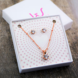 Traditional Solitaire Necklace + Earring Gift Set - jewellery gifts for mothers
