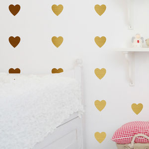 Metal Effect Confetti Hearts Wall Stickers - office & study