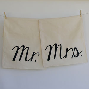 Mr And Mrs Tea Towel Set - 2nd anniversary: cotton