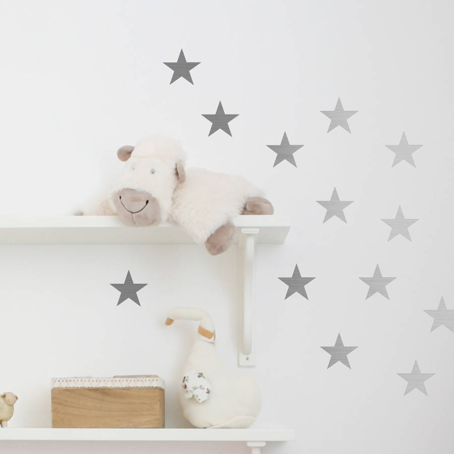 metal effect confetti stars wall stickers by nutmeg. Black Bedroom Furniture Sets. Home Design Ideas