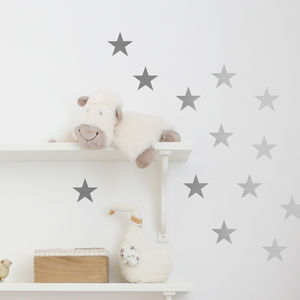 Metal Effect Confetti Stars Wall Stickers - office & study