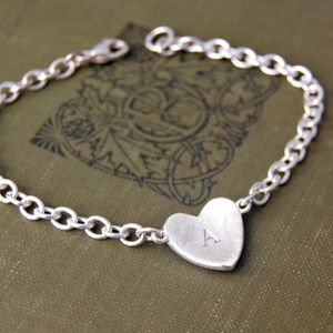 Solid Silver Monogram Heart Bracelet - gifts for her