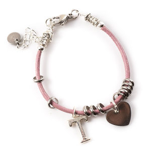 Leather Charm Personalised Bracelet