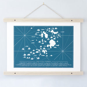 Isles Of Scilly Shipwrecks Map Print. Todd Jarvis Co - maps & locations