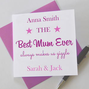 Personalised Best Mum Ever Greetings Card - mother's day cards