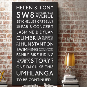Personalised Best Memories Canvas - typography