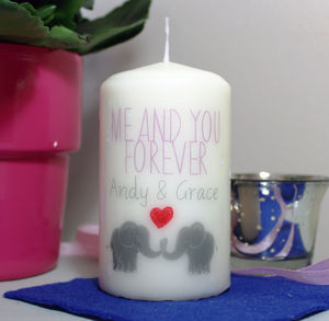 Personalised 'Me And You Forever' Elephant Candle