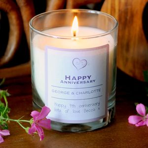 Happy Anniversary Scented Personalised Candle - bedroom