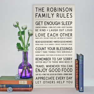 Subway Style Family Rules Wood Print