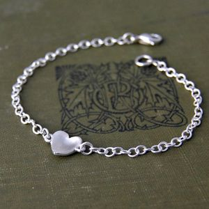 Sterling Silver Handmade Heart Bracelet - flower girl jewellery