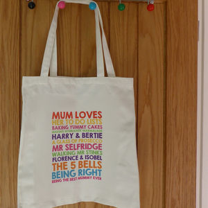 Personalised Mum Loves Tote Bag