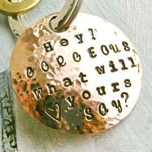 Personalised Handmade Round Copper Keyring - men's accessories