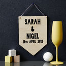 Personalised Couples Keepsake Hanging Wooden Flag