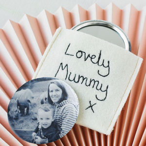 Personalised Photograph Mirror With Pouch - mother's day gifts