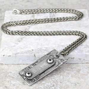 Personalised Men's 'Rustic' ID Tag Necklace