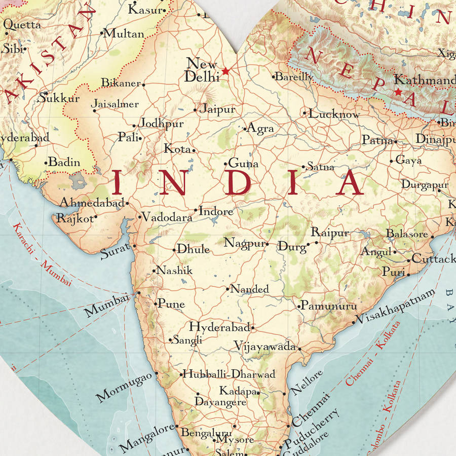 Patna In India Map.India Map Heart Print By Bombus Off The Peg Notonthehighstreet Com