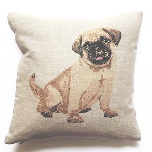 Pug Linen Cushion - bedroom