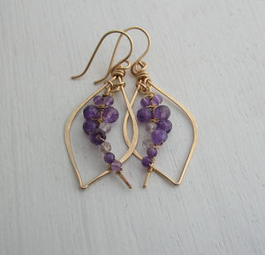 Amethyst Woven Tusk Earrings - earrings