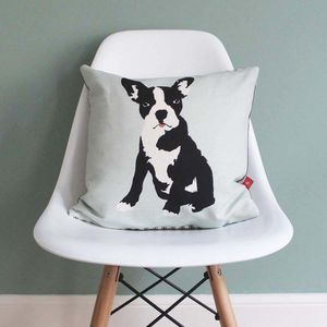 Boston Terrier Linen Cushion - cushions