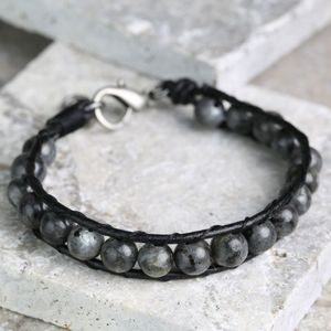 Men's Leather And Obsidian Bead Bracelet