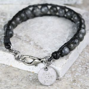 Personalised Men's Leather And Obsidian Bead Bracelet