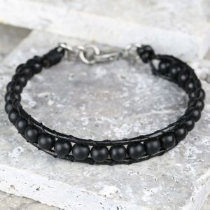 Men's Black Leather And Bead Bracelet - jewellery sale