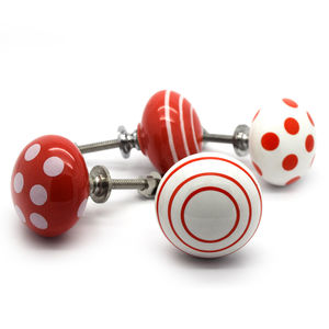 Red Ceramic Cabinet Drawer Knobs