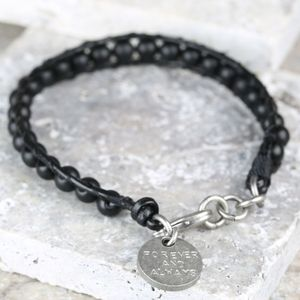 Personalised Men's Black Leather And Bead Bracelet - summer sale