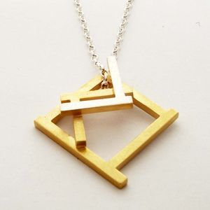 Ruins Fade Away Gold Plated Necklace - geometric shapes
