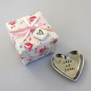 'Lots Of Love' Tiny Heart Pewter Trinket Dish - bedroom