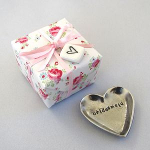 'Bridesmaid' Tiny Pewter Heart Trinket Dish