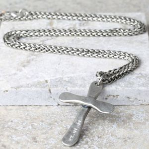 Personalised Men's Antique Cross Necklace