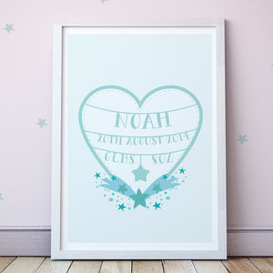 Personalised Hearts And Stars Print - christening gifts
