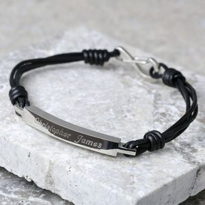 Personalised Men's Leather ID Bar Bracelet