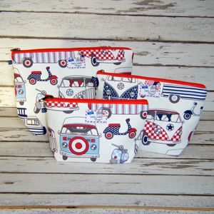 Campervan Vw Camper Scooter Makeup Toiletry Wash Bag - make-up bags