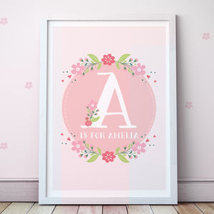 Personalised Pink Letter Print - posters & prints for children