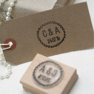 Initials And Date Wreath Rubber Stamp