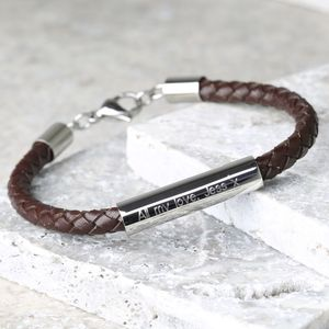 Personalised Men's Brown Leather Tube Bracelet - gifts for him