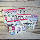 Vw Campervan Scooter Toiletry Cosmetic Wash Bag