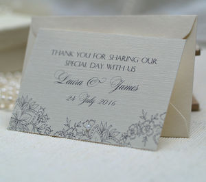 Lace Thank You Favour Notes - wedding stationery