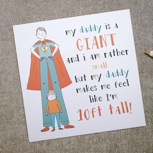 'Daddy Is A Giant' Father's Day Card - birthday cards