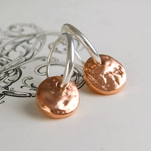 Rose Gold Disc Silver Hoop Earrings