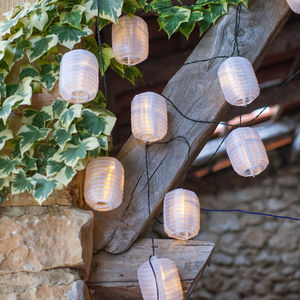 Warm White Lantern Solar Lights - summer garden