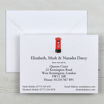 Illustrated Change Of Address Cards With Gift Box