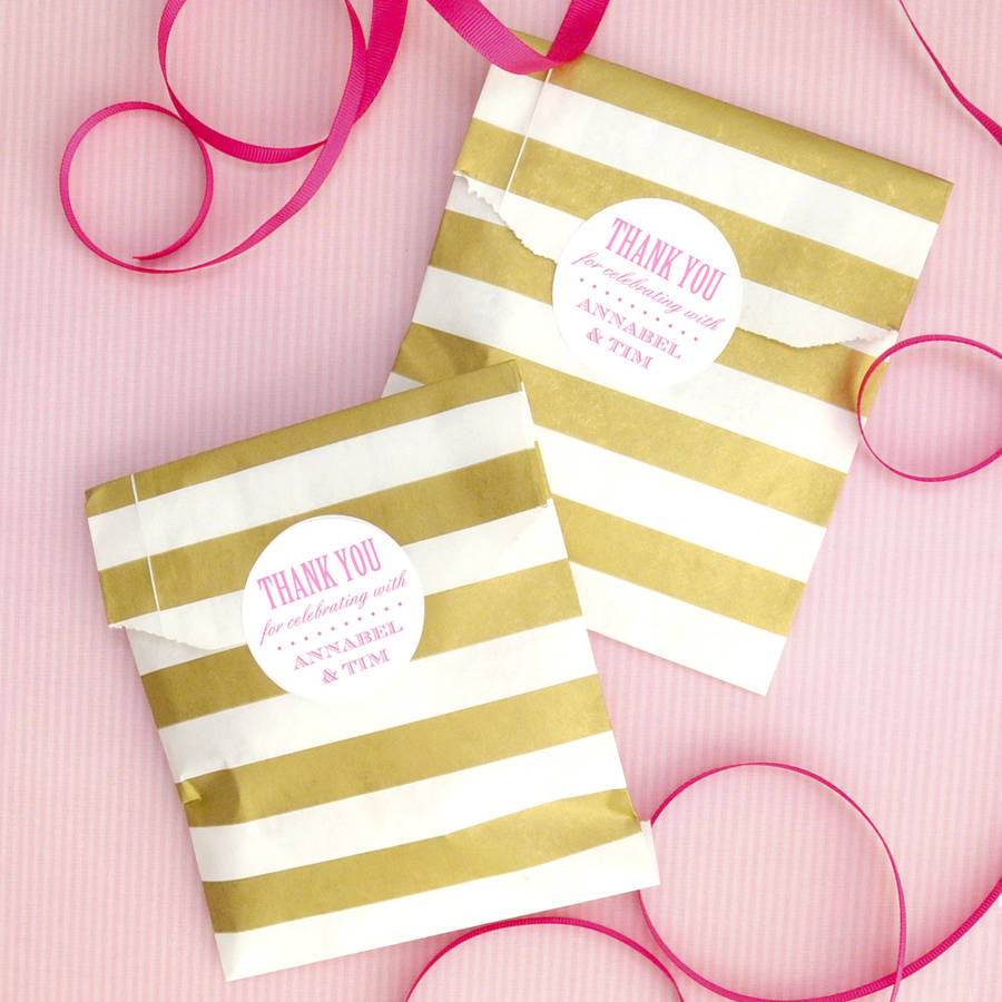 Striped Wedding Favour Bags And Stickers By Peach Blossom