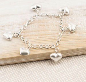 Silver Puffed Heart Charm Bracelet - bracelets & bangles