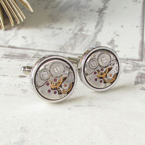 Vintage Round Watch Movement Cufflinks - gifts for grandparents